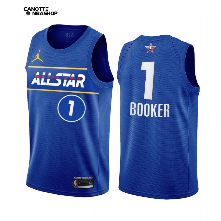 Vendite Maglia NBA 2021 All Star NO.1 Devin Booker Blu