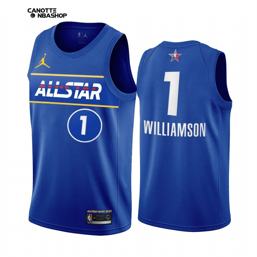 Vendite Maglia NBA 2021 All Star NO.1 Zion Williamson Blu