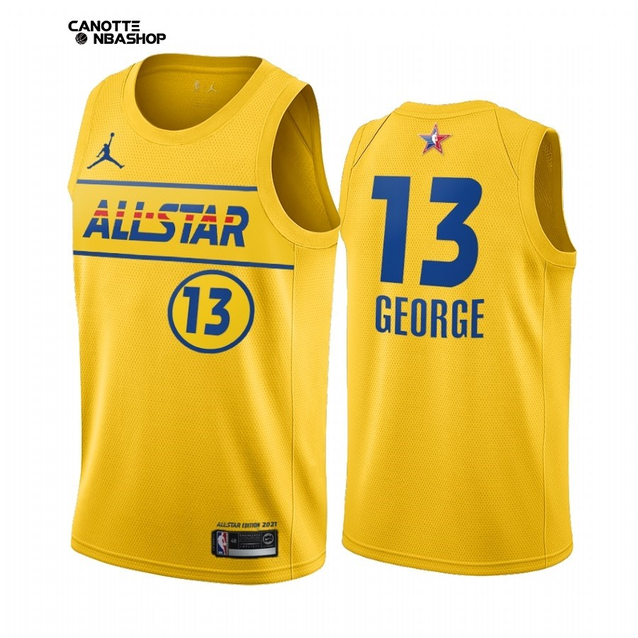 Vendite Maglia NBA 2021 All Star NO.13 Paul George Oro