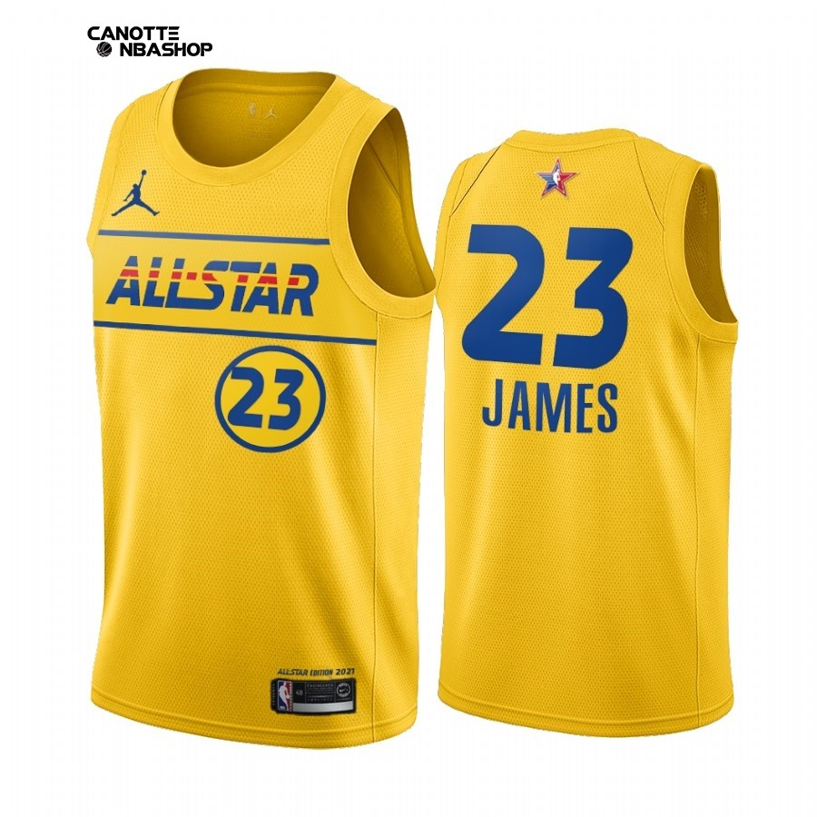 Vendite Maglia NBA 2021 All Star NO.23 LeBron James Oro