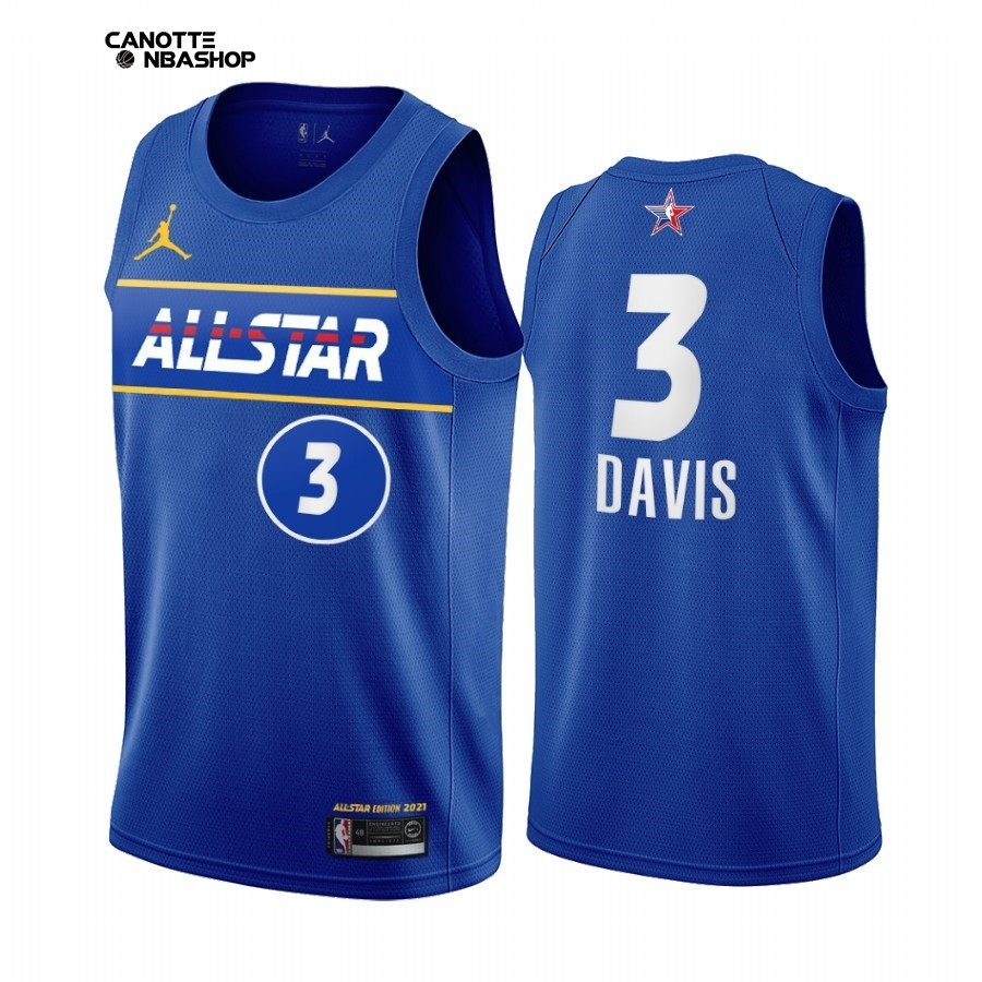 Vendite Maglia NBA 2021 All Star NO.3 Anthony Davis Blu