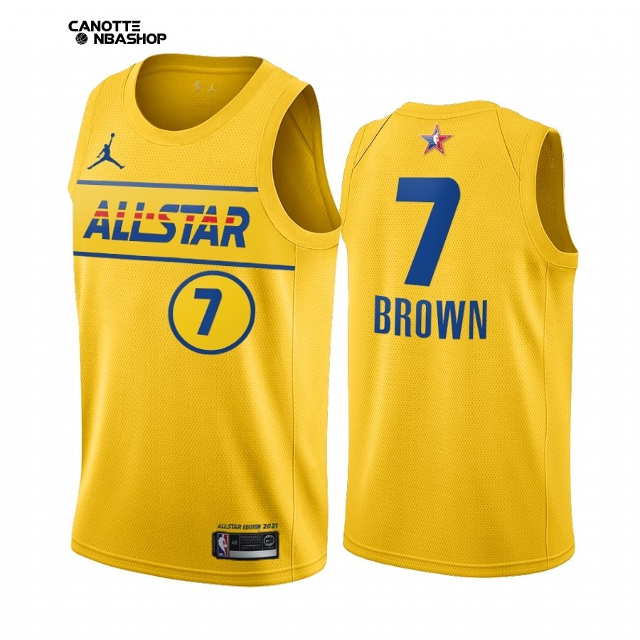 Vendite Maglia NBA 2021 All Star NO.7 Jaylen Brown Oro