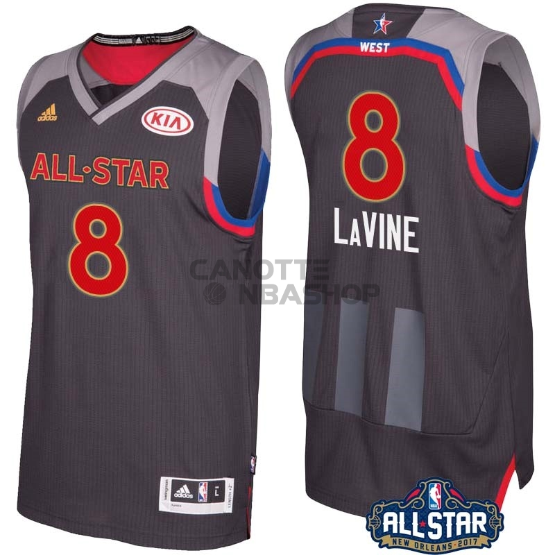 Vendite Maglia NBA 2017 All Star NO.8 Zach Lavine Carbone