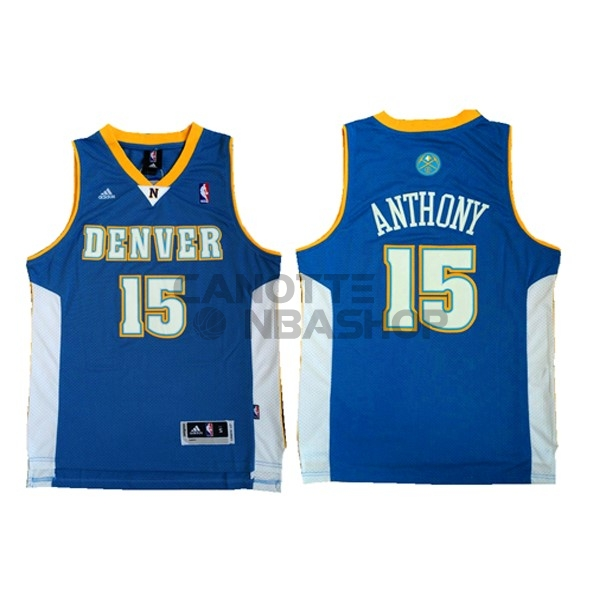 Vendite Maglia NBA Denver Nuggets NO.15 Carmelo Anthony Retro Blu
