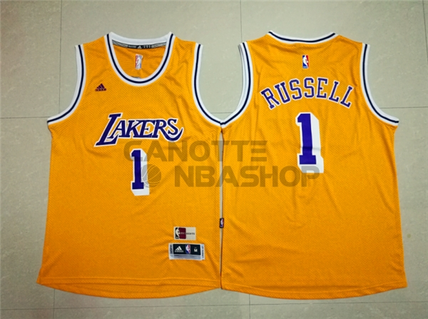 Vendite Maglia NBA Los Angeles Lakers NO.1 D'Angelo Russell Retro Blu