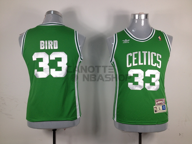 Vendite Maglia NBA Donna Boston Celtics NO.33 Larry Joe Bird Verde