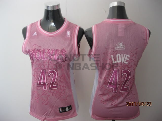 Vendite Maglia NBA Donna Minnesota Timberwolves NO.42 Kevin Love Rose