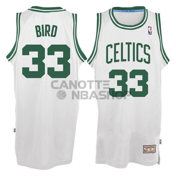 Vendite Maglia NBA Boston Celtics No.33 Larry Joe Bird Bianco