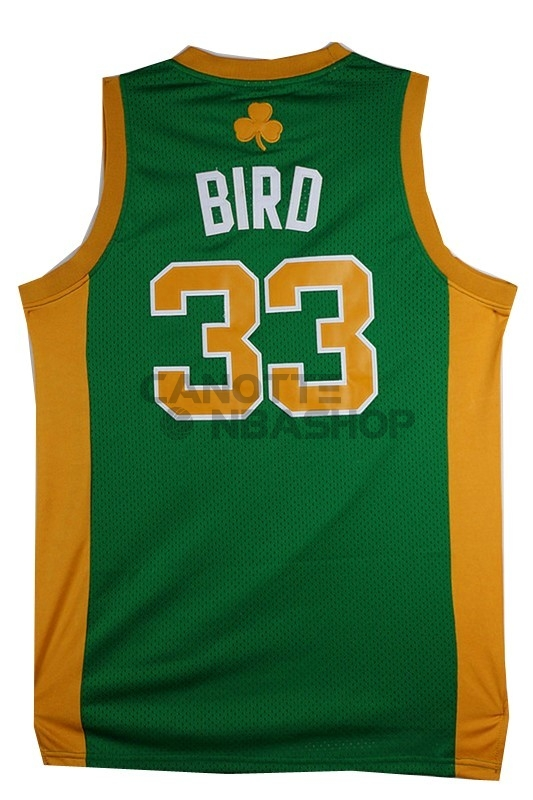 Vendite Maglia NBA Boston Celtics No.33 Larry Joe Bird Verde Arancia
