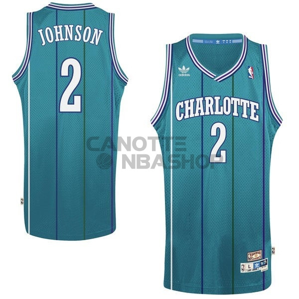 Vendite Maglia NBA Charlotte Hornets No.2 Larry Demetric Johnson Verde