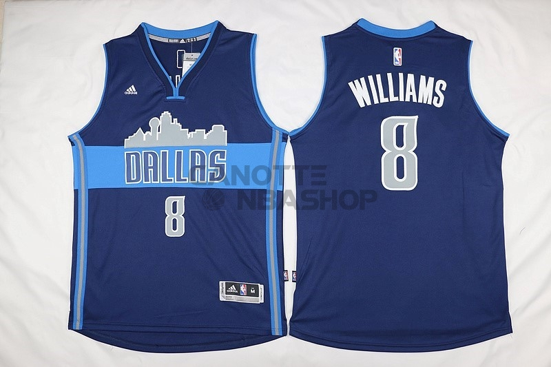 Vendite Maglia NBA Dallas Mavericks NO.8 Deron Michael Williams Blu Profundo