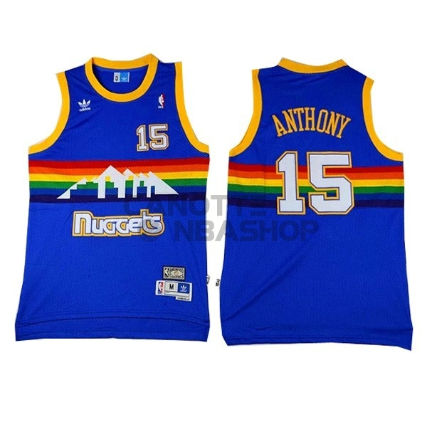 Vendite Maglia NBA Denver Nuggets NO.15 Carmelo Anthony Blu