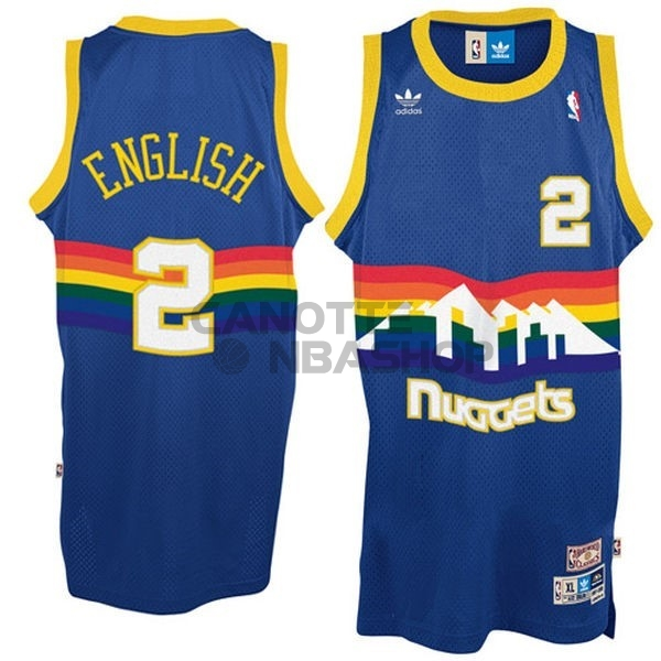 Vendite Maglia NBA Denver Nuggets NO.2 Alex English Blu