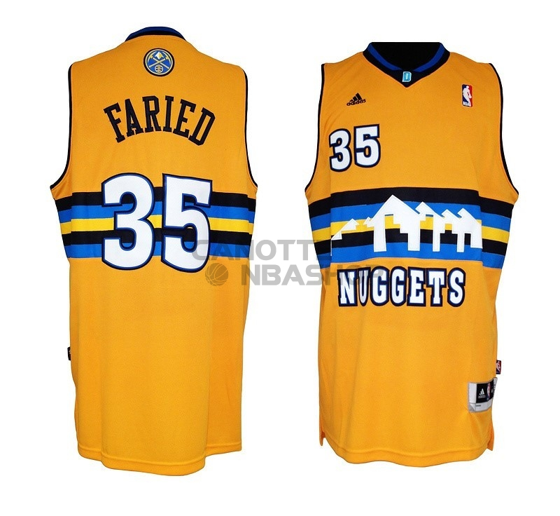 Vendite Maglia NBA Denver Nuggets NO.35 Kenneth Faried Giallo