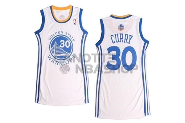 Vendite Maglia NBA Donna Golden State Warriors NO.30 Stephen Curry Bianco