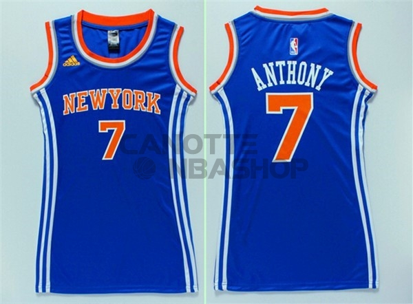 Vendite Maglia NBA Donna New York Knicks NO.7 Carmelo Anthony Blu