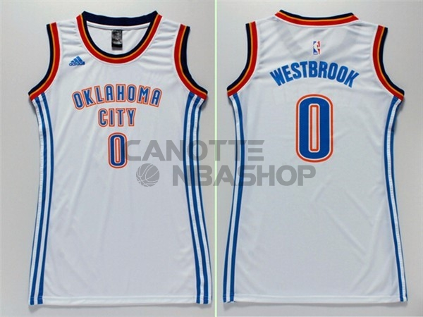 Vendite Maglia NBA Donna Oklahoma City Thunder NO.0 Russell Westbrook Bianco