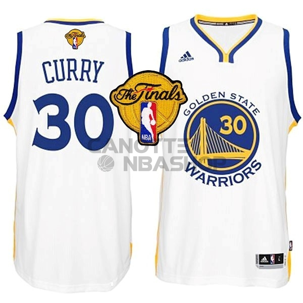 Vendite Maglia NBA Golden State Warriors Finale NO.30 Curry Bianco
