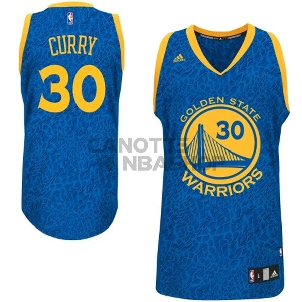 Vendite Maglia NBA Golden State Warriors Luce Leopard NO.30 Curry Blu