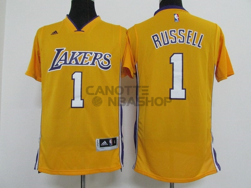 Vendite Maglia NBA Los Angeles Lakers Manica Corta NO.1 D'Angelo Russell Giallo