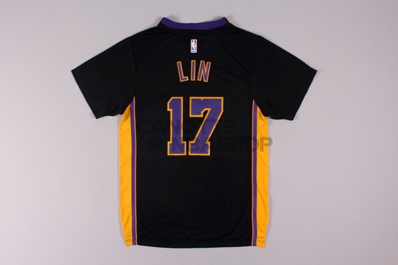 Vendite Maglia NBA Los Angeles Lakers Manica Corta NO.17 Jeremy Lin Nero
