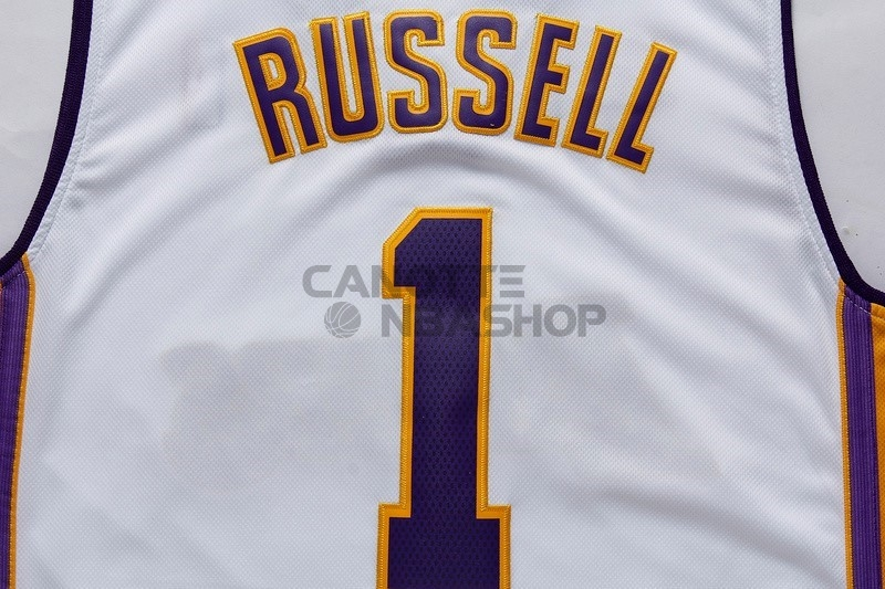 Vendite Maglia NBA Los Angeles Lakers NO.1 D'Angelo Russell Bianco