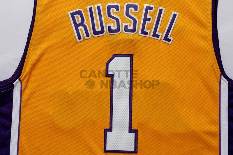 Vendite Maglia NBA Los Angeles Lakers NO.1 D'Angelo Russell Giallo