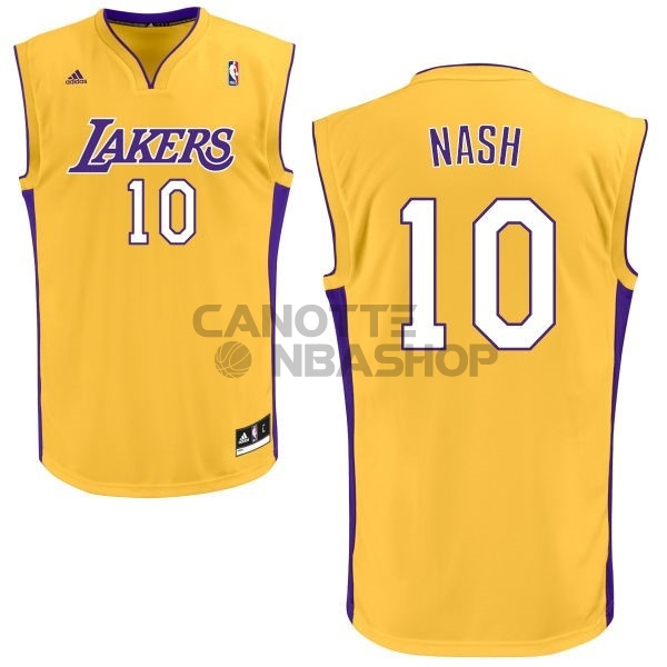 Vendite Maglia NBA Los Angeles Lakers NO.10 Steve Nash Giallo