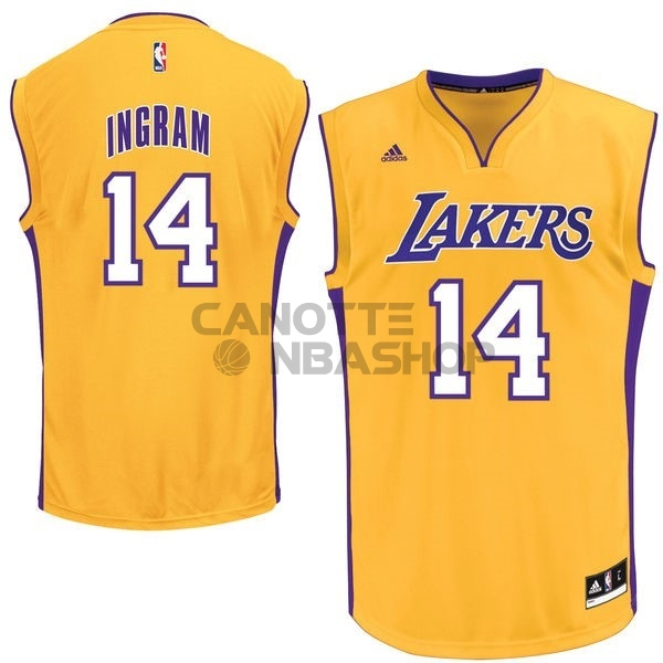 Vendite Maglia NBA Los Angeles Lakers NO.14 Ingram Giallo