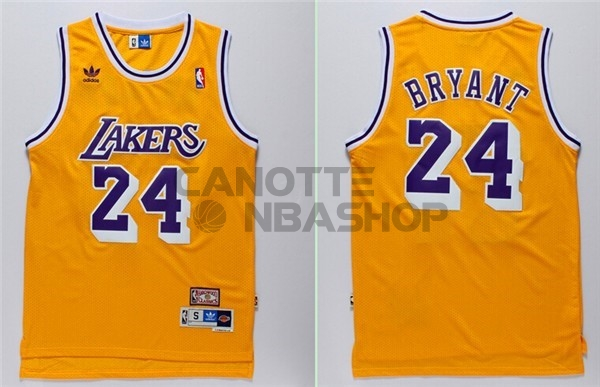 Vendite Maglia NBA Los Angeles Lakers NO.24 Kobe Bryant Retro Giallo