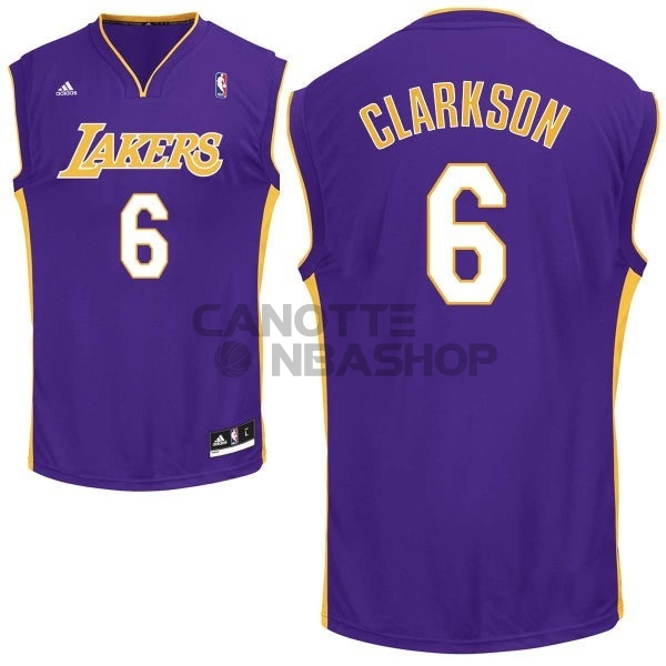 Vendite Maglia NBA Los Angeles Lakers NO.6 Jordan Clarkson Porpora