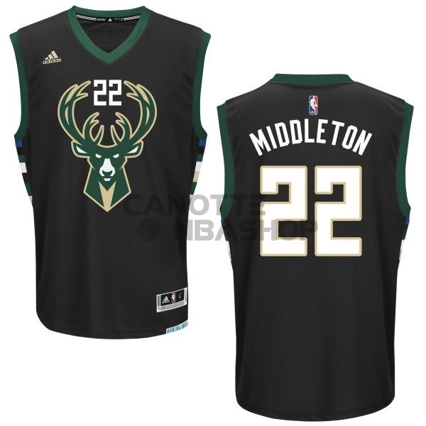 Vendite Maglia NBA Milwaukee Bucks NO.22 Khris Middleton Nero