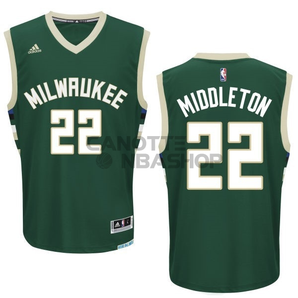 Vendite Maglia NBA Milwaukee Bucks NO.22 Khris Middleton Verde