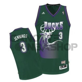 Vendite Maglia NBA Milwaukee Bucks NO.3 Brandon Jennings Verde