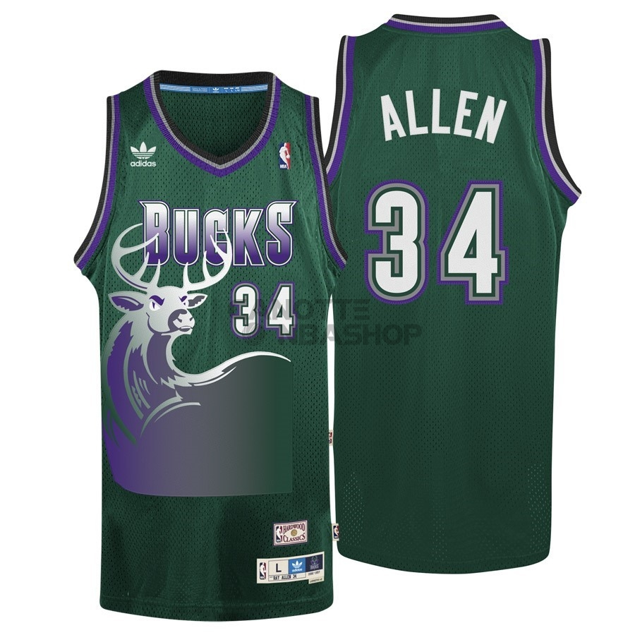 Vendite Maglia NBA Milwaukee Bucks NO.34 Ray Allen Verde