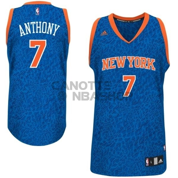 Vendite Maglia NBA New York Knicks Luce Leopard NO.7 Anthony Blu