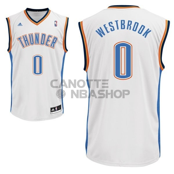 Vendite Maglia NBA Oklahoma City Thunder NO.0 Russell Westbrook Bianco
