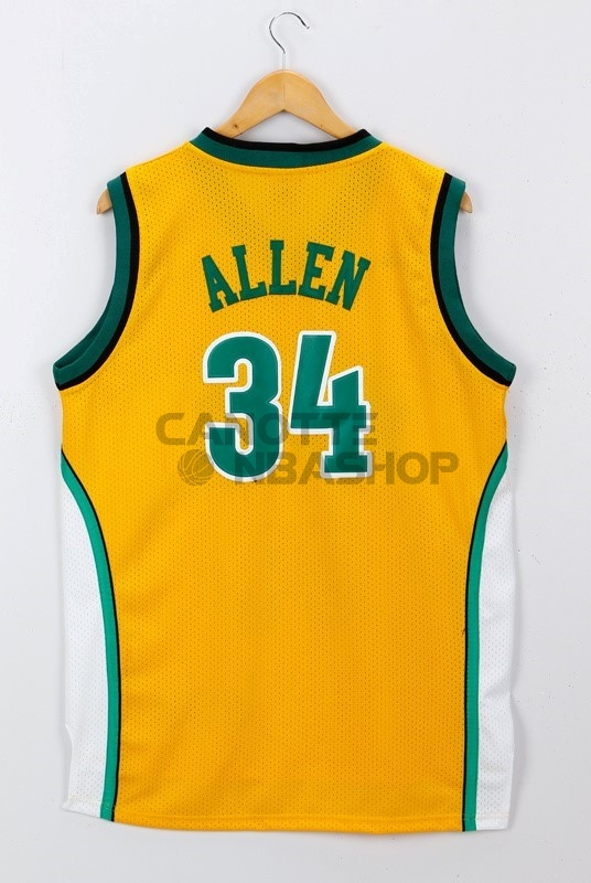 Vendite Maglia NBA Seattle Supersonics NO.34 Ray Allen Giallo
