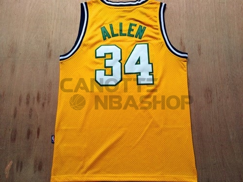 Vendite Maglia NBA Seattle Supersonics NO.34 Ray Allen Retro Giallo