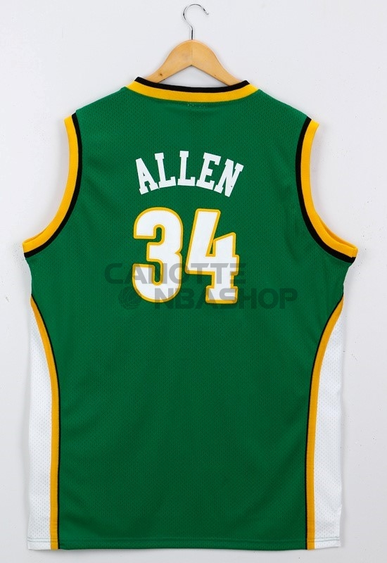 Vendite Maglia NBA Seattle Supersonics NO.34 Ray Allen Verde