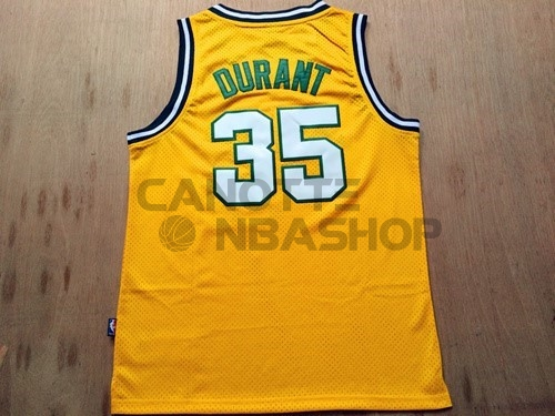 Vendite Maglia NBA Seattle Supersonics NO.35 Kevin Durant Retro Giallo