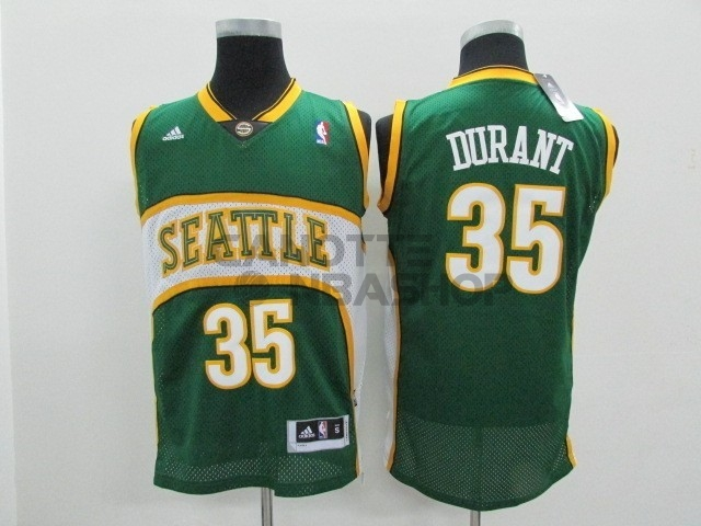 Vendite Maglia NBA Seattle Supersonics NO.35 Kevin Durant Verde