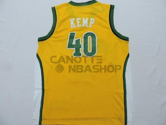 Vendite Maglia NBA Seattle Supersonics NO.40 Shawn Kemp Giallo