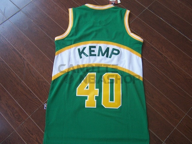 Vendite Maglia NBA Seattle Supersonics NO.40 Shawn Kemp Verde