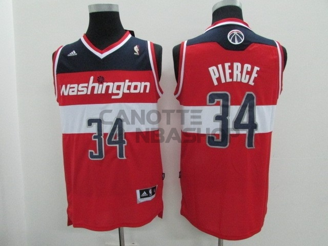 Vendite Maglia NBA Washington Wizards NO.34 Paul Pierce Rosso