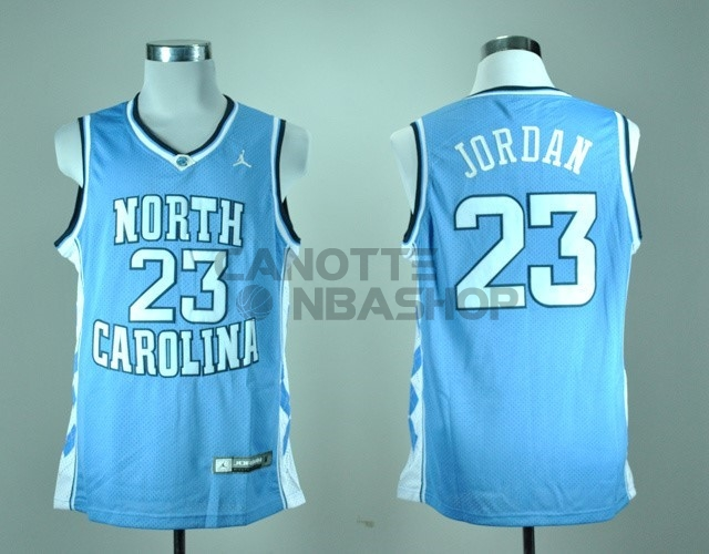 Vendite Maglia NCAA North Carolina NO.23 Michael Jordan Blu