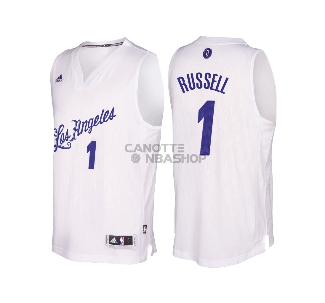 Vendite Maglia NBA Los Angeles Lakers 2016 Natale NO.1 D'Angelo Russell Bianco