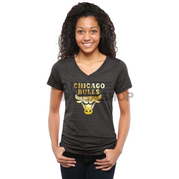 Vendite T-Shirt Donna Chicago Bulls Nero Oro