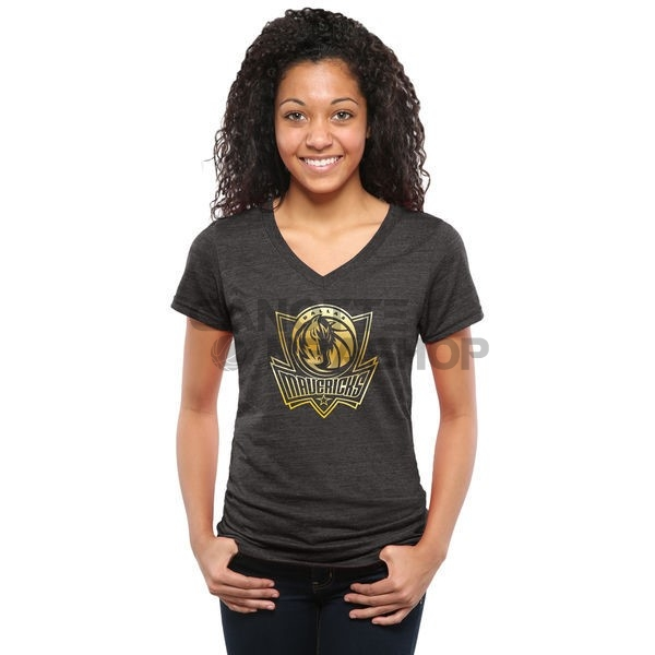 Vendite T-Shirt Donna Dallas Mavericks Nero Oro