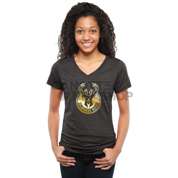 Vendite T-Shirt Donna Milwaukee Bucks Nero Oro
